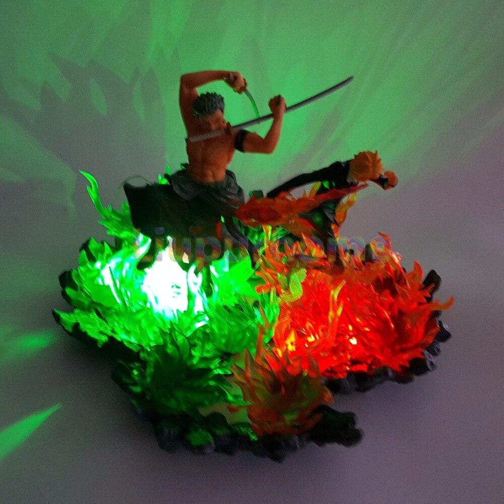 Una pieza Zoro Sanji luces Led escena de fuego Anime una pieza luces de noche modelo juego de mesa lámpara - 4