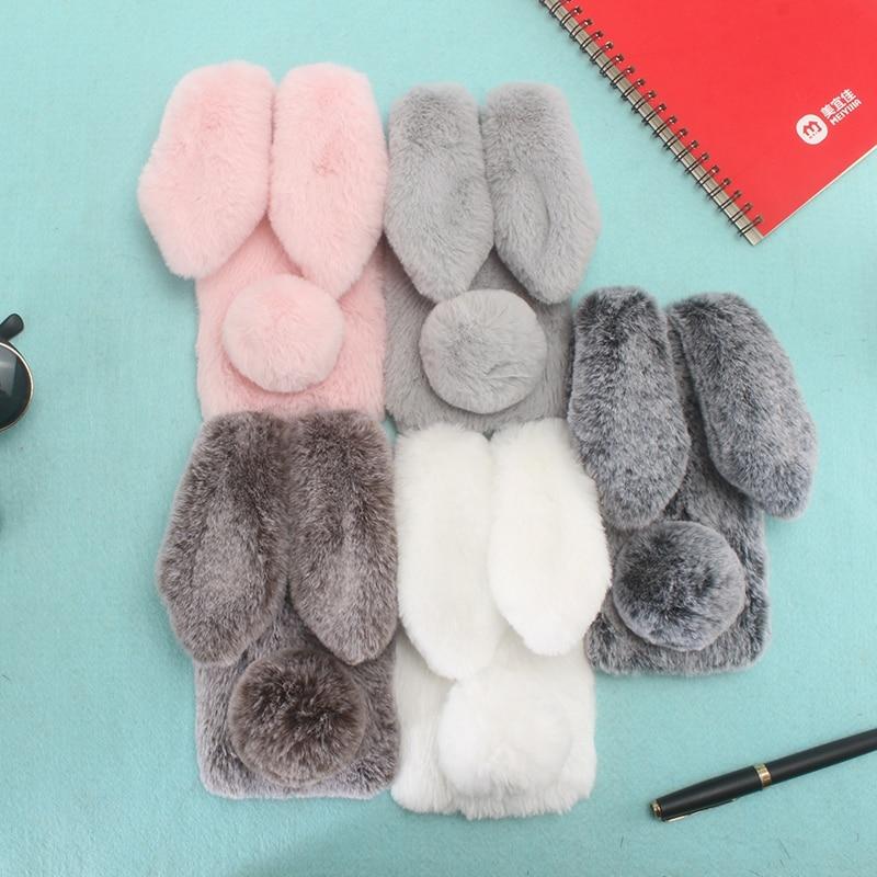 Cute Bunny Plush Case For Coque VIVO Y83 Pro Case Vivo Y83Pro Soft TPU Silicon Rabbit Fur Phone Cover For BBK VIVO Y83 Pro Case