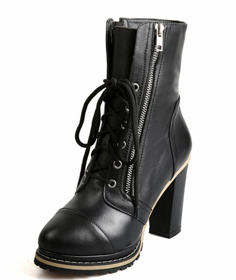 2015 New Winter Women Thick High Heel Genuine Leather Lace Up Round Toe Zipper Fashion Ankle Martin Boots Size 34-39 SXQ0812 women autumn winter genuine leather thick mid heel side zipper round toe 2015 new fashion ankle boots size 34 39 sxq0905