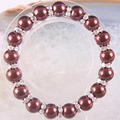 "Free Shipping New without tags Fashion Jewelry Stretch 10MM Round Brown Trend Pearl Bracelet 8"" 1Pcs RH1379"