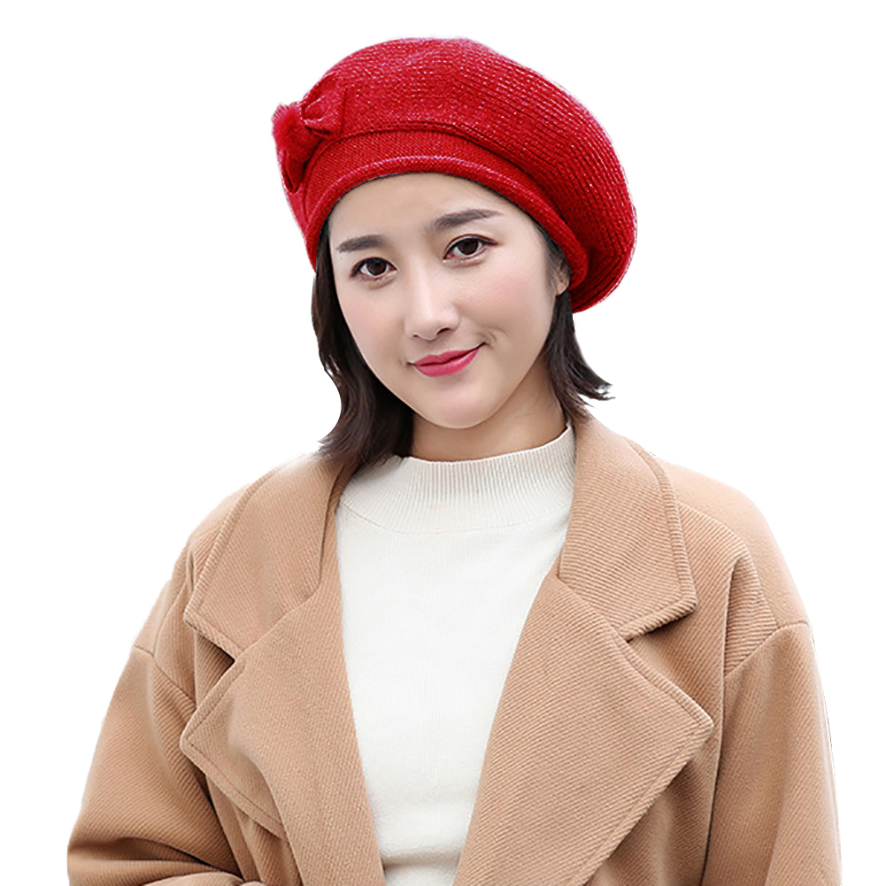 Fashion Women Bowknot Solid Color Warm Winter Outdoor Beret Hat Cap Xmas Gift