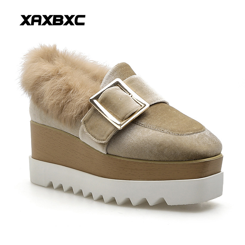 XAXBXC 2018 Winter Khaki Pleuch Flock Suede Rabbit Fur Buckle Platform Wedges Women Shoes Handmade Casual