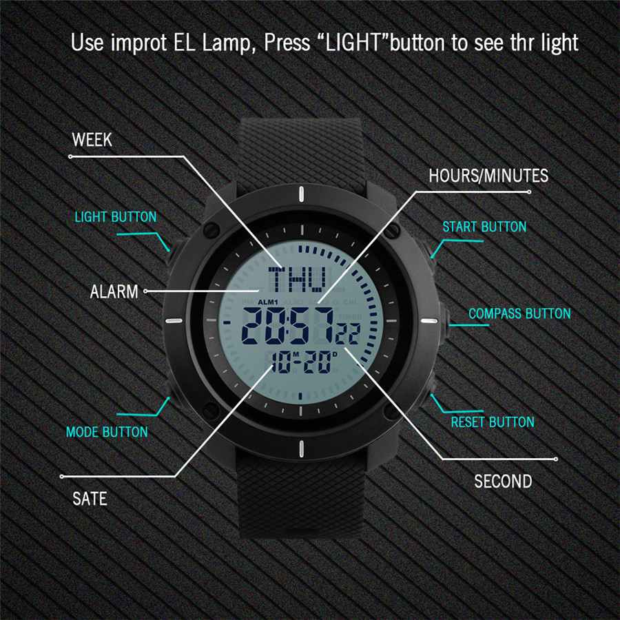shop Men Fashion Sports Watches Lancardo Compass Watch 3 Alarm Repeater Chronograph 50M Waterproof Back Light Digital Wristwatches with crypto, pay with bitcoin