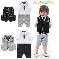 Summer Newborn Toddler Boys Rompers Tuxedo Sets Baby Gentleman Roupa Infant Jumpsuits De Bebe For