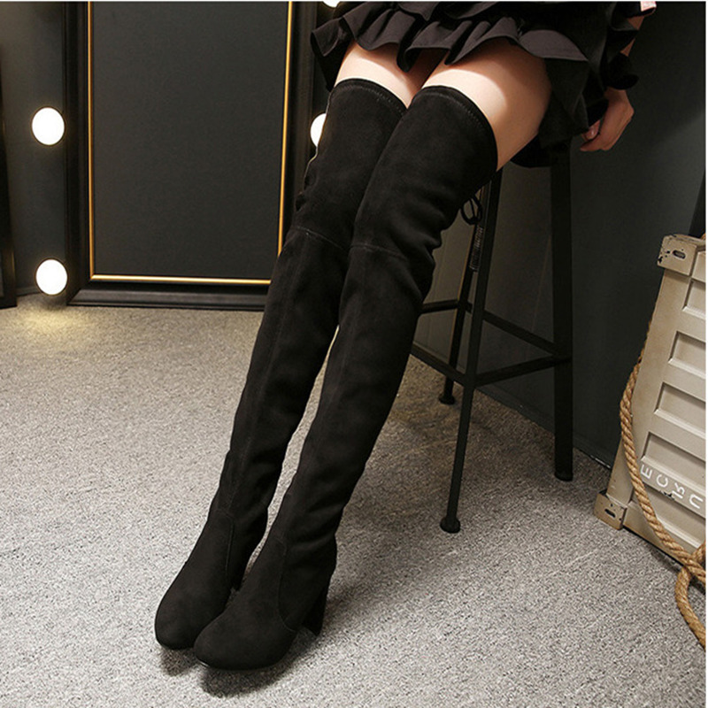 ФОТО Women boots 2017 Europen Stretch Faux Suede Slim Thigh High Boots Sexy Fashion Over the Knee Boots High Heels boots female F022