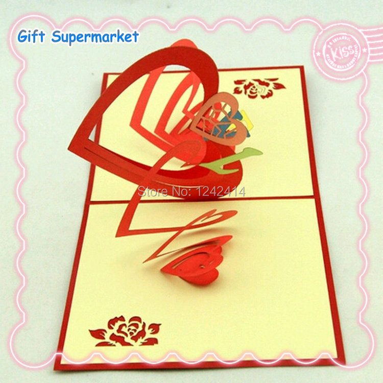 150150mm Paper Love Heart 3d Pop Up Greeting Cards Weddinghappy