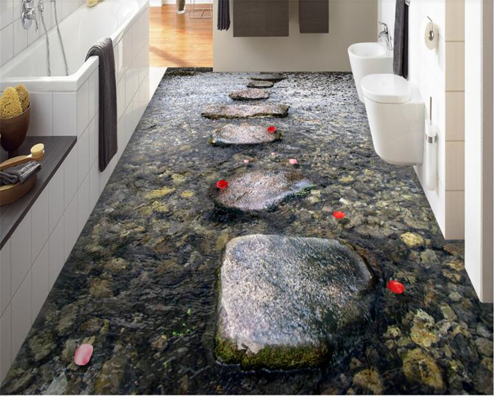 beibehang behang Custom stone path stream bathroom floor tile waterproof PVC self adhesive 3D wallpaper wallpaper for walls 3 d-in Wallpapers from Home Improvement    1