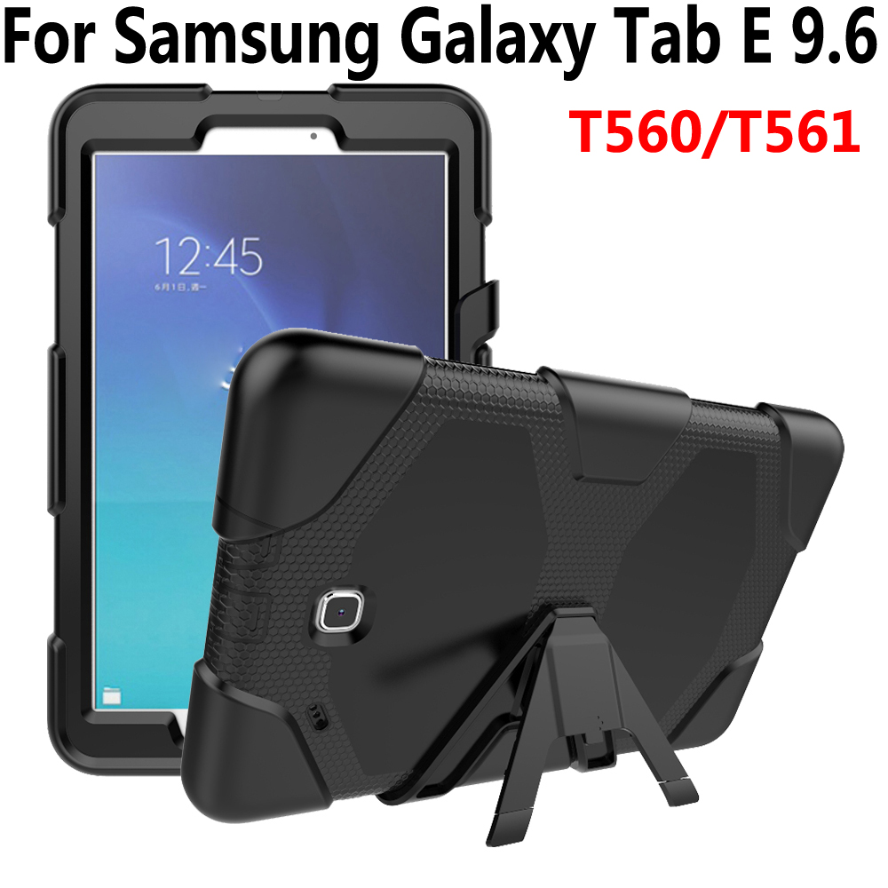 Armor Case For Samsung Galaxy Tab E 9.6 T560 T561 Cover Silicone Heavy Duty Kid Safe Tablet Case For Samsung Tab E 9.6 T560 T561 2017 new products luxury 360 rotating flip leather stand cover tablet case for samsung galaxy tab e 9 6 t560 t561 case stylus