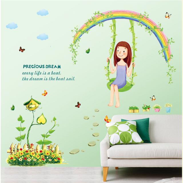 Zs Sticker Girls Bedroom Wall Stickers For Kids Rooms Daycare Wall  Decorations Nursery Decor Children Mural