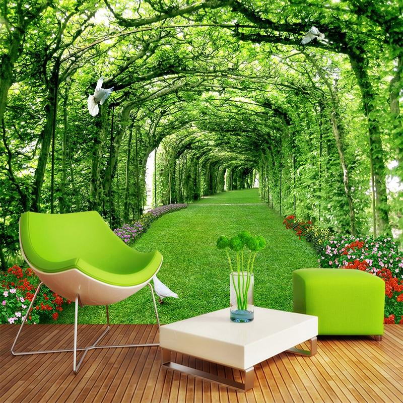 Papel De Parede Custom 3D Stereo Parks Green Porch Lawns