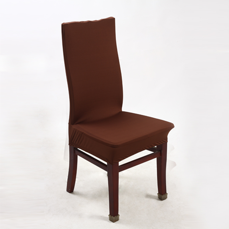 Coffee Polyester Spandex Dining Chair Covers For Wedding Party Cover Brown Seat
