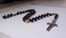 High grade Black Onyx Christianism Madonna Religious Christ Jesus's crucifixion Cross crucifix Necklace prayer beads -free ship