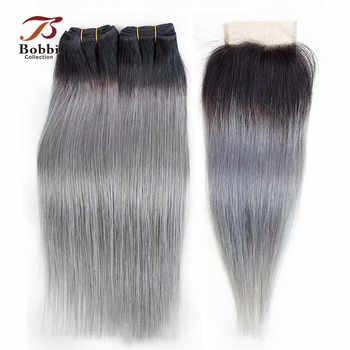 BOBBI COLLECTION 2/3 Bundles With Closure Ombre Dark Grey Brazillian Straight Hair Pre-Colored Remy Human Hair Extensions - DISCOUNT ITEM  30% OFF All Category