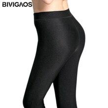 Womens Autumn Winter Warm Leggings High Elastic Black Gloss Pants Super Soft Velvet Leggings Shiny Thick Pants Women Christmas