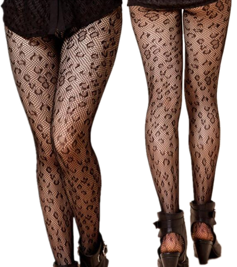 Charming Women Sexy Leopard Pattern Thin Stockings Lingerie Elastic Hollow Black Tights Thigh Pantyhose Hosiery Fishnet Stocking