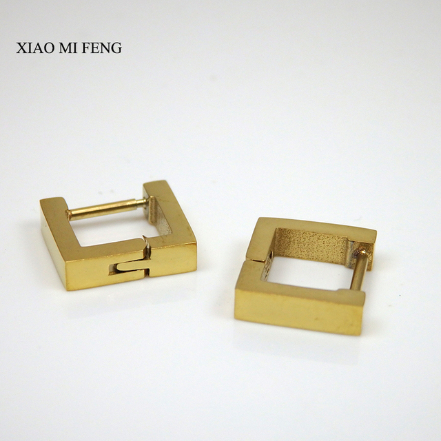 Xiao Mi Feng 3mm Gold Stainless Steel Earring Hoops For Men And Women Charming Fashion Jewelry
