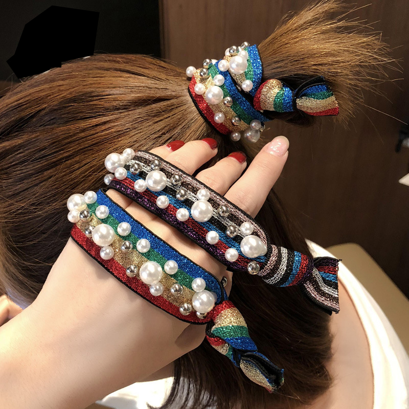 Ruoshui Rainbow Hair Ties Woman Korean Pearl Scrunchies Girl Ponytail Holder Rubber Band Hair Gum Rope Lady Hair Accessories