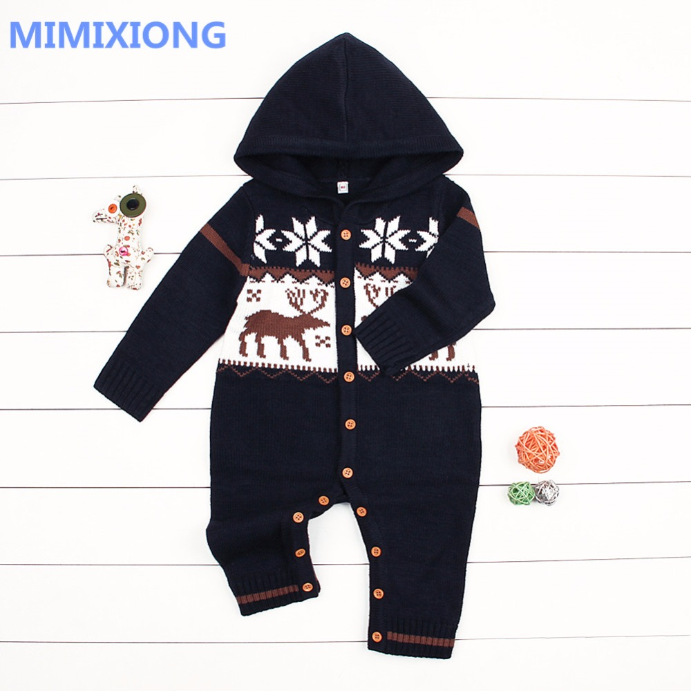 Baby Unisex Knitted Rompers Winter Hooded Long Sleeve Infant Christmas Jumpsuit Autumn Outerwear Newborn Toddler Coveralls 0-24M baby clothing winter autumn unisex newborn baby clothes100% cotton cartoon rompers long sleeve baby product baby clothing infant