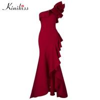 Kinikiss 여성 프릴 바닥 길이 드레스 레드 섹시한 어깨 하나 비대칭 긴 드레스 레이디 우아한