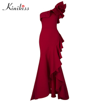 Kinikiss Women Ruffle Floor Length Dress Red Sexy One Shoulder Asymmetrical Long Dress Lady Elegant Evening