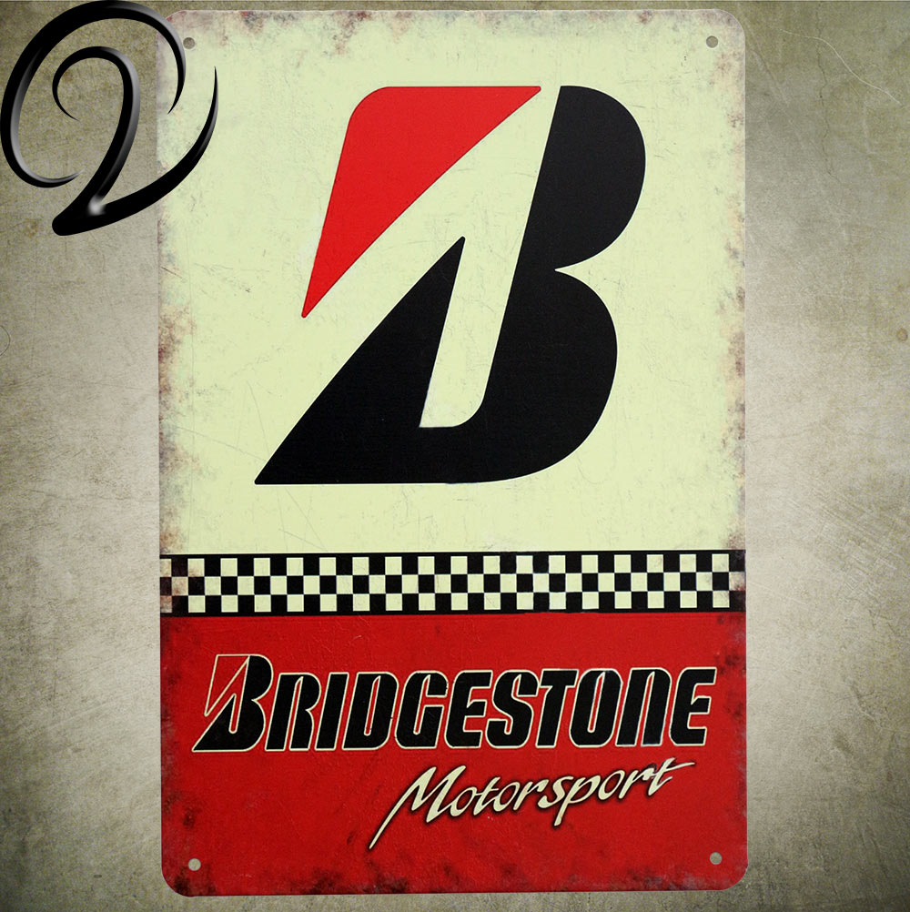 Bridgestone Service Vintage Tin Signs Shabby Chic Wall Decor for Bar ...