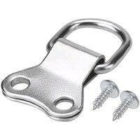25 pces d-ring quadro de imagem ganchos de suspensão cabides de furo duplo com parafusos prata