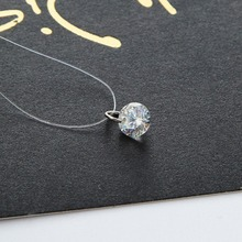 2017 Silver Plated Shine Zircon Necklace Invisible Transparent Fishing Line Short Chain Pendant Neckalce for Women Jewelry Gift