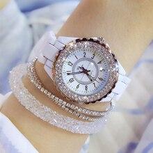 2019 Роскошные хрустальные наручные часы для женщин белый керамика женские кварцевые часы модные женские туфли часы дамы наручные часы для женщин