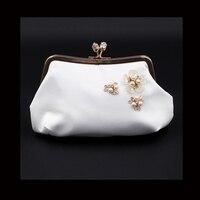 Flower Bag Rhinestone Crystal Clutch Evening Bags For Womens Party Wedding Bridal Crystal Handbag And Box