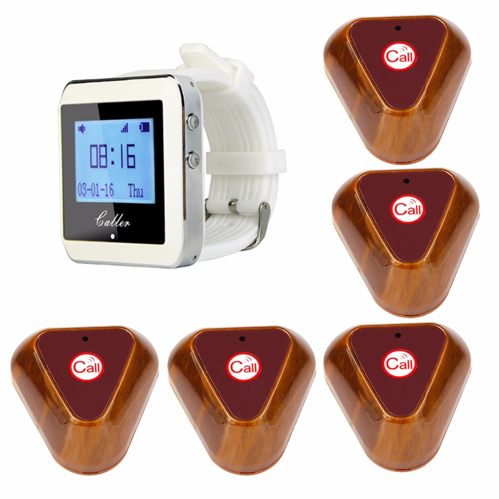 Restaurant Waiter Calling Paging System Guest Vibrating Call Pagers For Hotel Cafe KTV Bar With Wood Transmitter Button F3288B hotel waiter call pagers wireless guest calling paging system for restaurant cafe ktv bar with one key transmitter button f3288b