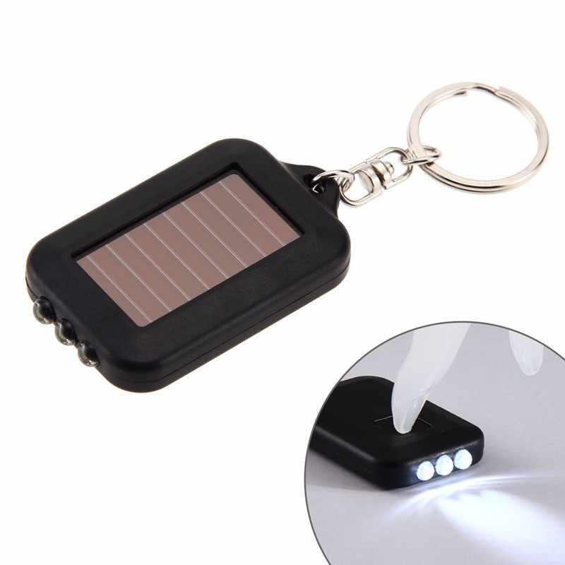 3 LEDs Solar Panel taschenlampe schlüssel kette taschenlampe Camping Lampe Wiederaufladbare Scheinwerfer Power Energie 100000 Stunden 60X35X10CM