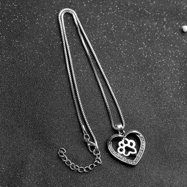 Heart Charm Paw Necklace