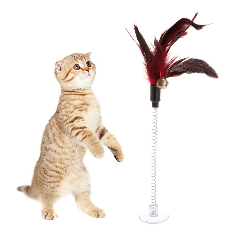 <font><b>Cat</b></font> <font><b>Toys</b></font> <font><b>Feather</b></font> <font><b>Stick</b></font> Spring Suction Cup Pet Teaser Funny Interactive Wand Pen image