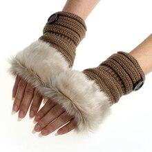 Amaizng Fashion font b Winter b font Knitted Faux Fur Fingerless font b Gloves b font