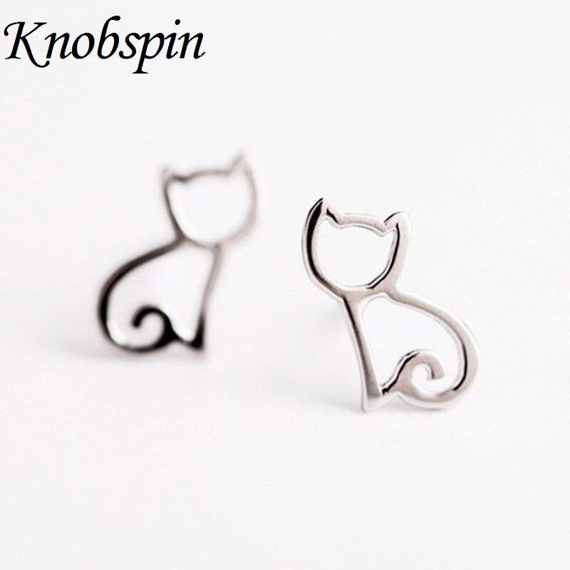 2017 NEW Fashion Cute Tiny Symmetry Cat Stud Earrins