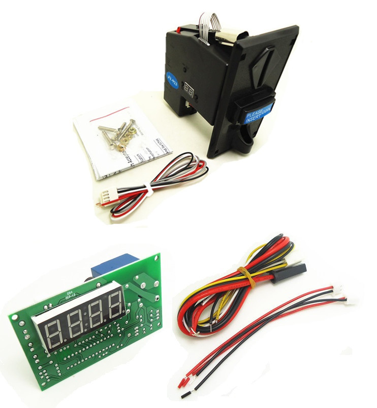 plastic front plate coin operated multi coin selector acceptor with JY-15A 4digits timer ...