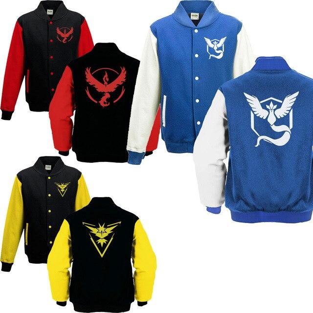 Pokeman Go Autumn Winter Jacket Men  Team Valor Instinct Mystic Symbol Brand Clothing Sweatshirt Male Clothes Coat S-XXXL