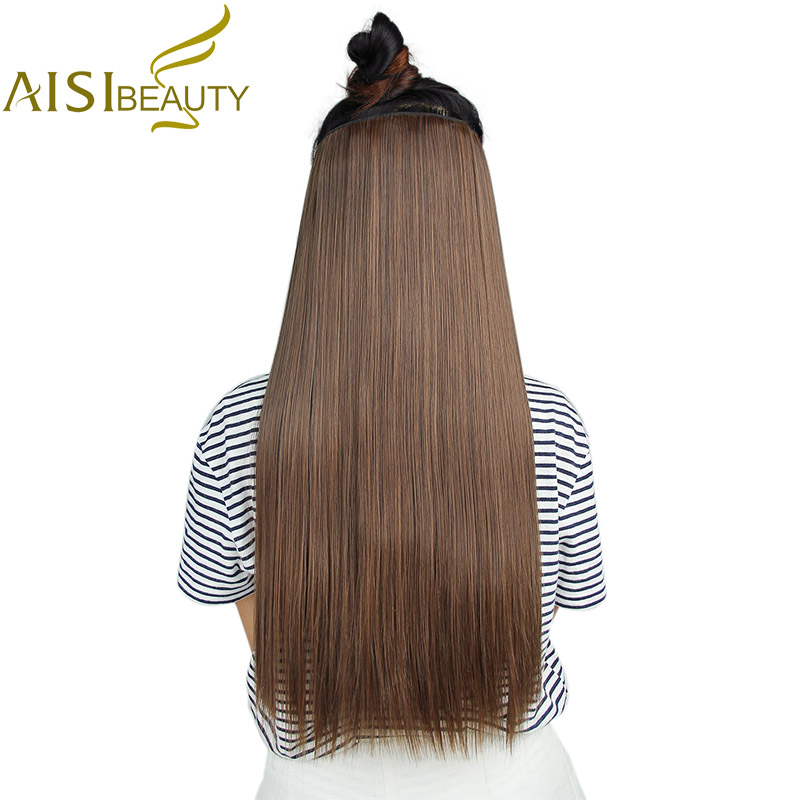 AISI BEAUTY 22 inch 55cm Long Straight Women Clip in Hair Extensions Black Brown High Tempreture