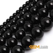 """Натуральный камень черный турмалин круглые свободные бусины для изготовления ювелирных изделий прядь 1"""" DIY браслет ожерелье ювелирных изделий"""