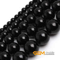 "Natural Stone Black Tourmaline Round Loose Beads For Jewelry Making Strand 15"" DIY Bracelet Necklace Jewelry Making Beads"