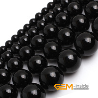Round Black Tourmaline Beads Selectable Size 4mm To 12mm Natural Stone Beads For Women Bracelet Making