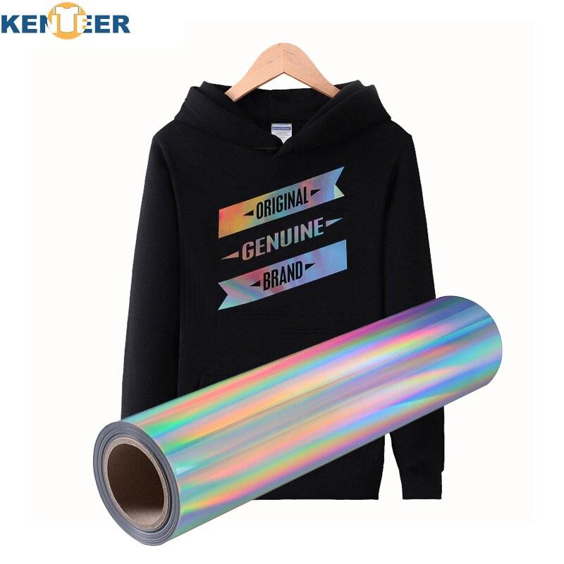 Hologram Heat Transfer Vinyl wide 50cm vinyls sliver rainbow colors transfer film iron on shirts hats vinyl stickers Free design