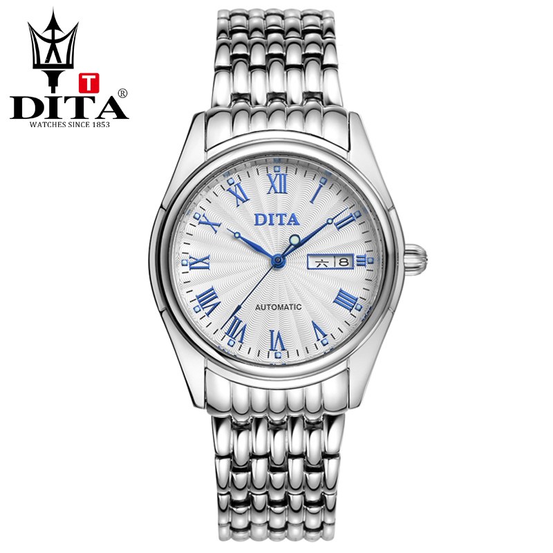 DITA Mens analog metal band Wristwatches mens automatic Business Casual Classic 2tone color stanless steel band Roman indexes