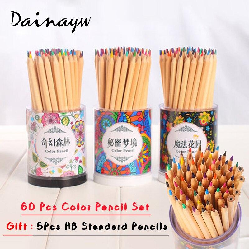 60 Colors Fine Art colored pencils Set Wooden Drawing Sketche lapices de colores School Supplies Secret Garden