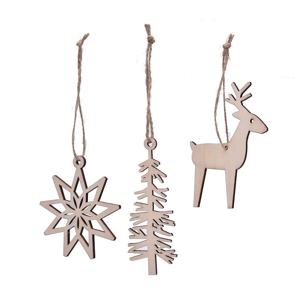 Wooden animals ornaments - New 3pcs Set Deer Tree Snow Shape Decoration Christmas Tree Ornaments Wood Rustic Tags Christmas
