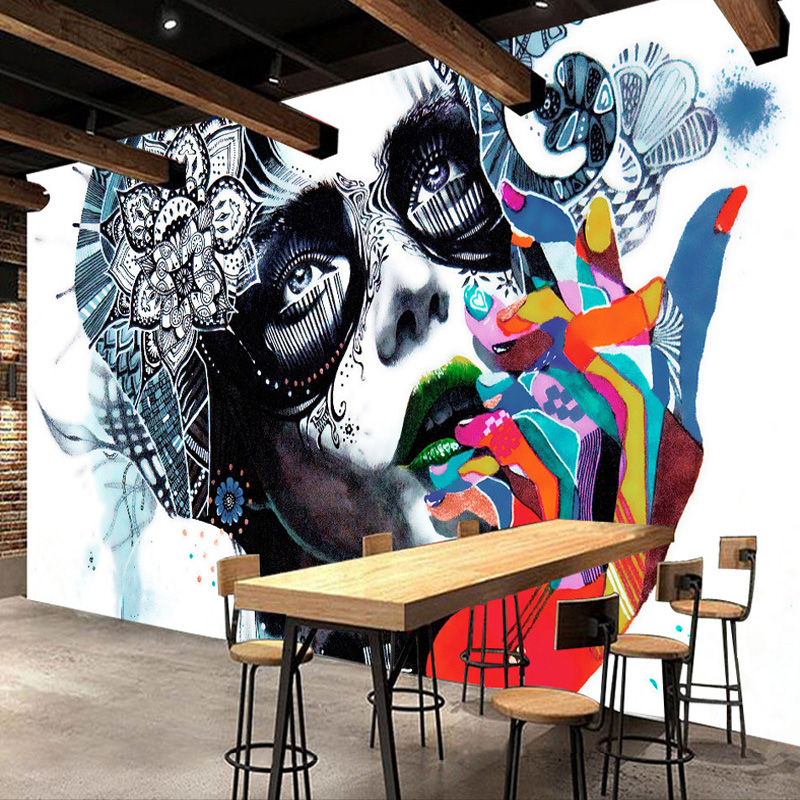 Custom Mural Wallpaper Creative Street Color Graffiti Beauty Photo Wallpaper Restaurant KTV Bar Wall Painting Papel De Parede 3D custom size photo 3d wood blackboard graffiti wallpaper pizza shop snack bar restaurant burgers store wallpaper mural