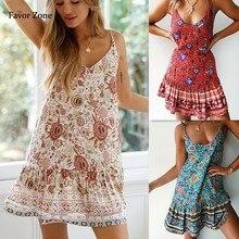 Sexy Women Dress Summer Casual Chiffon Boho Floral Print Bohemian Party Beach Dresses Vintage Mini Sundress Womens Cloth