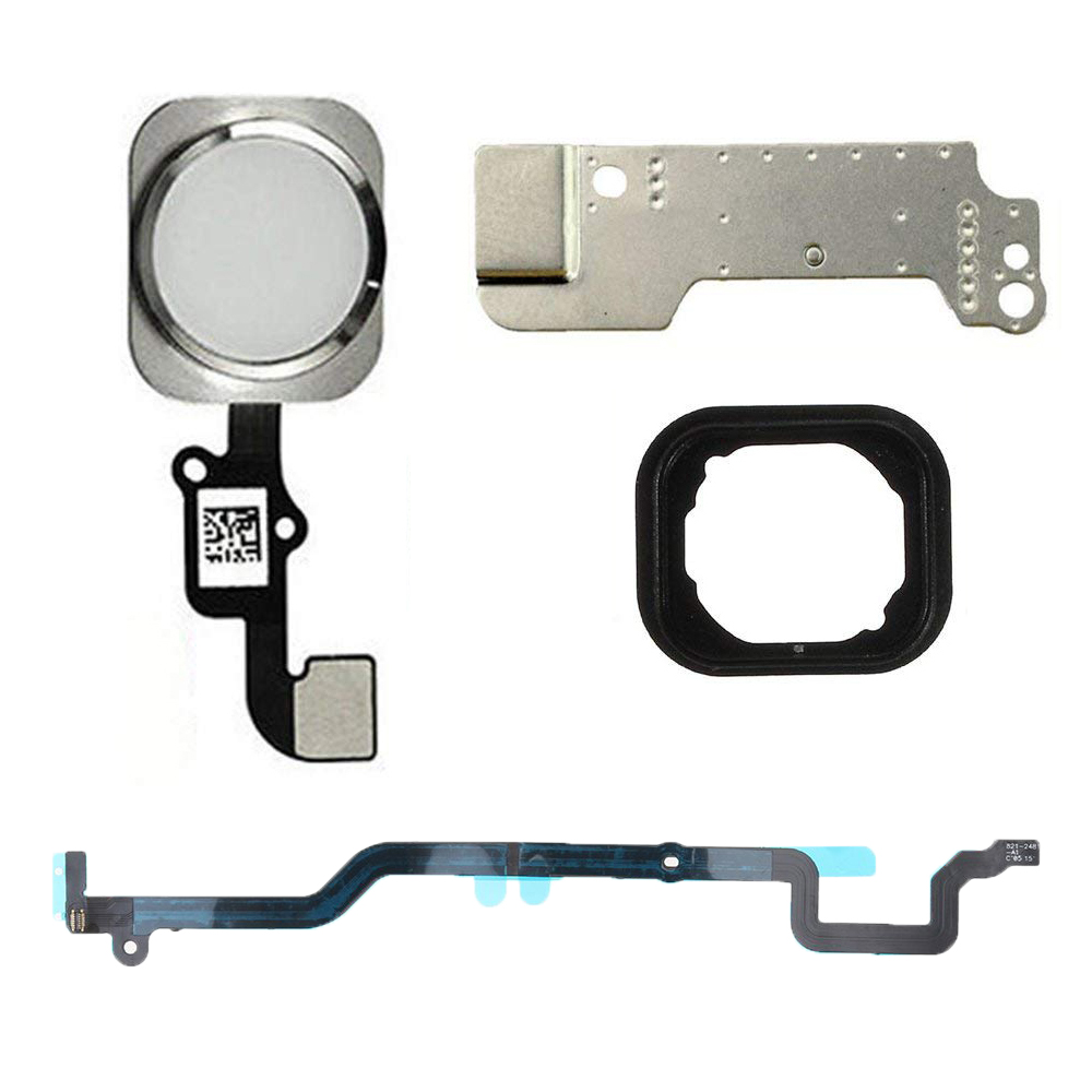4pcs /lot for Iphone 6 6 Plus Connector Flex + Home Button Flex Cable Assembly with Rubber Ring Replacment Part image
