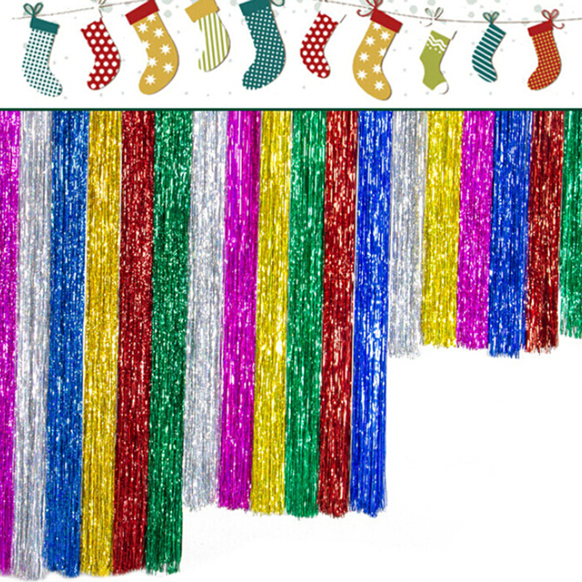 2pcs Holloween Xmas Fringe Foil Curtains Shining Party Wedding Bridal  Shower Favor Party Gift Tassel Curtain