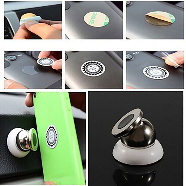 Universal 360 Degree Mini Car Cell Phone Magnetic Holder Dashboard Sticky Pad For iPhone/Xiaomi/Samsung/Doogee Ball Mount Base universal nylon cell phone holster blue black size l
